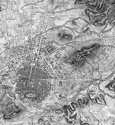 Εβδομήντα χρόνια αργότερα στο χάρτη του Kaupert βλέπουμε ότι το τείχος έχει γκρεμιστεί, ο οθωμανικός ιστός έχει αντικατασταθεί από το ιστορικό τρίγωνο και οι καλλιεργημένες εκτάσεις εντοπίζονται κυρίως στην περιοχή του Ελαιώνα.. (Πηγή: Dietrich Reimer, Athen mit Umgebung, Βερολίνο 1881).