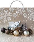 Купить оптом новогодний пакет Беж ТИКО-Пластик 37x36 100мкм с пластиковой ручкой