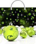 Купить оптом новогодний пакет Изумрудные шары ТИКО-Пластик 37x36 100мкм с пластиковой ручкой