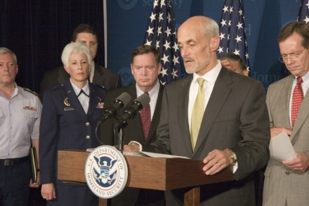 Washington, DC, August 31, 2005 -- Michael Chertoff, Secretary of Homeland Security, at a press conference at Homeland Security Headquarters, The press conference was also attended by Stephen Johnson from the Environmental Protection Agency, Secretary Michael Leavitt of the Department of Health and Human Services, Secretary Samuel Bodman of the Department of Energy, Secretary Norman Mineta, Department of Transportation, Rear Admiral Joel Whitehead, US Coast Guard, Acting Deputy Director Patrick Rhode of FEMA and Assisstant Secretary for Homeland Defense Paul McHale from the Department of Defense. Photo by Ed Edahl/FEMA