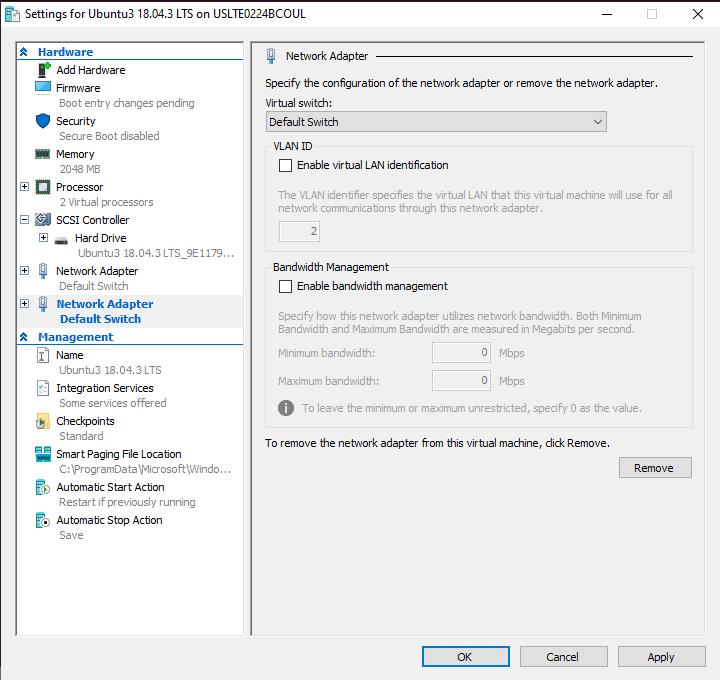 Hyper-V VM network settings switch configuration