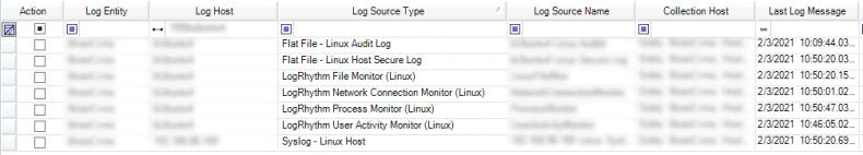 Verifying logs in Log Sources tab