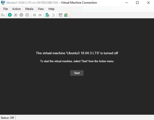 Hyper-V VM screen confirmation to turn on VM