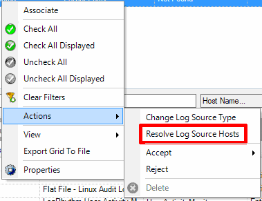 Selecting to resolve log source hosts in LogRhythm Deployment Manager