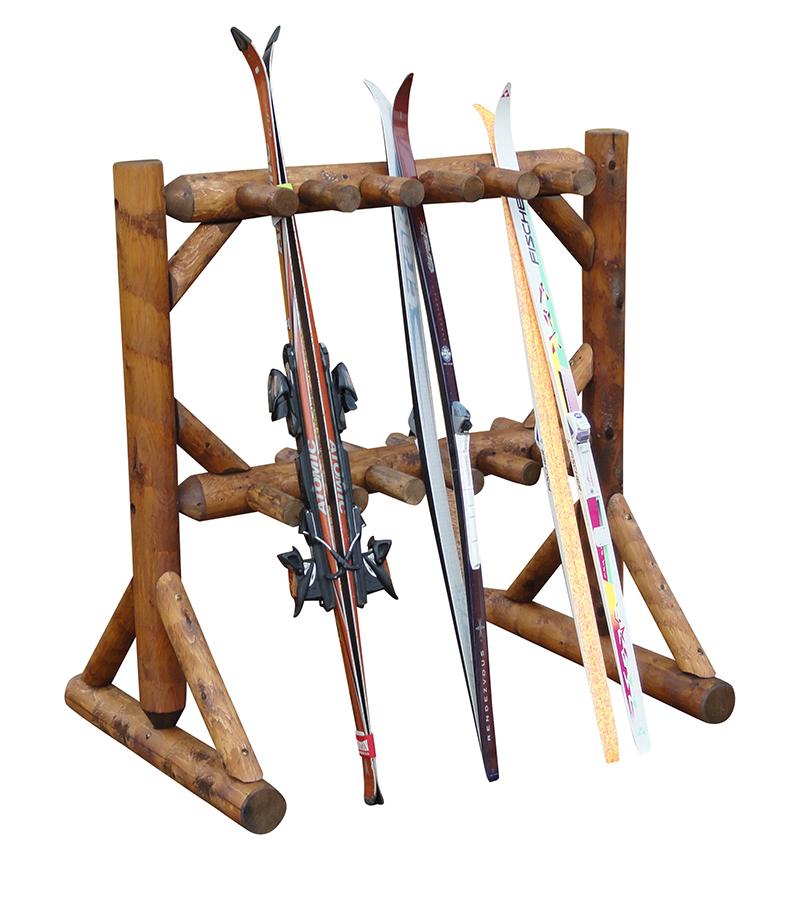 11 pair freestanding ski rack