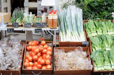 上新庄マルシェには野菜がいっぱい。
