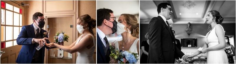 Plusieurs photos représentants les mariés à la mairie par temps de covid-19