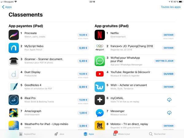 Un extrait de l'Apple Store sur IPad.