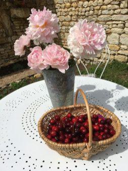 cherries on table