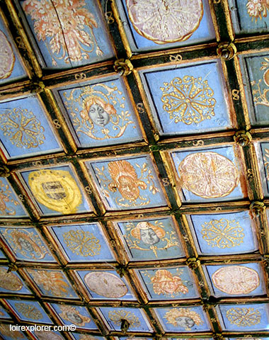 visite du Château de Selles sur Cher Pavillon Doré plafond avec LoireXplorer