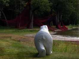 Ours de Michel Audiard devant Wood Wide Web de Sophie Billard-Rochette - Biennale de Sologne 2017 - Le Jardin de sculptures - Crédit photo copyright Yseult Carré yseult-carre.com