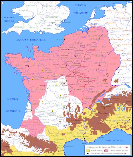 bataille d'Alésia itinéraire de Jules César pendant la dernière guerre des Gaules