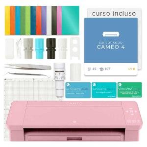 Plotter De Recorte Silhouette Cameo 4 Rosa + Kit Vinil