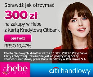 Citi Handlowy Karta kredytowa + voucher HEBE