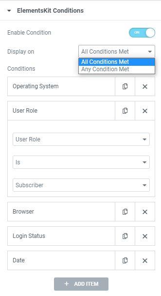 Elementskit Content Visibility Conditions