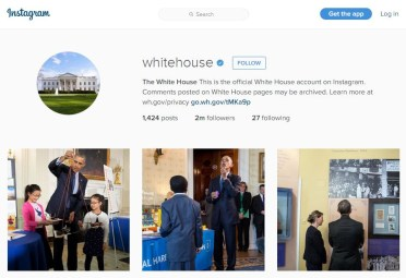 Here we are on the White House Instagram Feed.