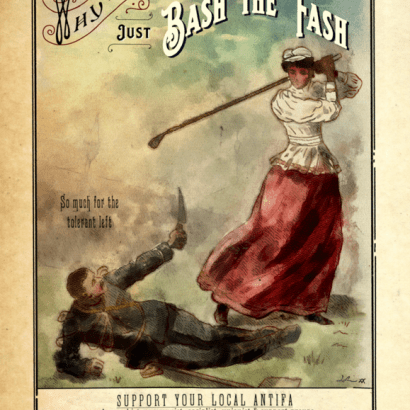 Vintage-style ad depicting a black woman with a golf club ready to hit a man pointing a knife at her. The text reads : Why Are You So Reluctant ? Just Bash The Fash