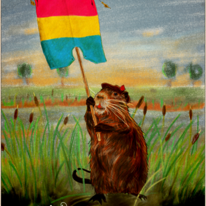 Vintage-style ad depicting a coypu holding a Pan pride flag. The text reads : Be Proud Of Your Nature, Your Choices, Your Fights