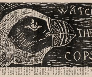 Linogravure noire représentant une tête de macareux moine avec le texte watch the police