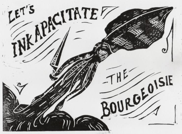 Linogravure noire représentant un calmar anticapitalist avec un couteau