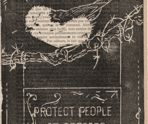 Linogravure noire représentant un oiseau sur un panneau pro-migrant