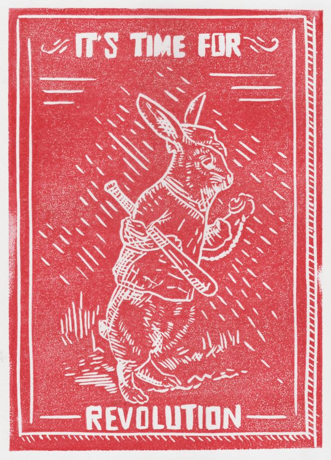 Linogravure rouge représentant un lapin avec une batte de baseball