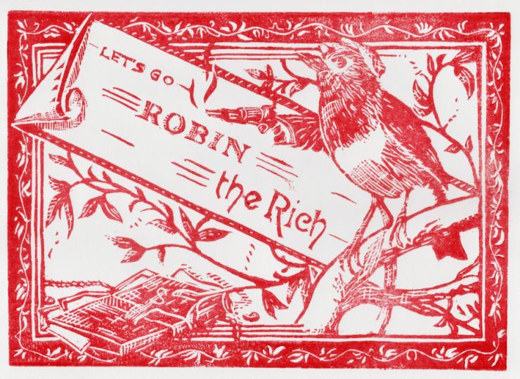 Linogravure rouge représentant un rouge-gorge avec un revolver