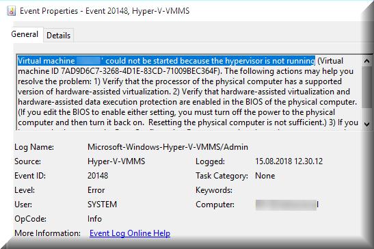 Hypervisor not running - BlackCat Reasearch Facility