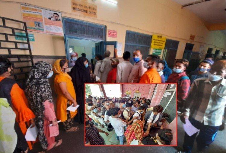 मेरठ मेडिकल कॉलेज में ओपीडी में लगी भीड़