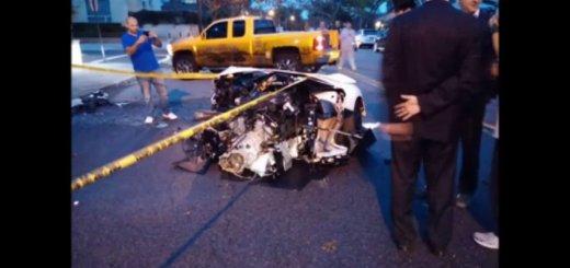 Lamborghini Aventador partido ao meio após acidente