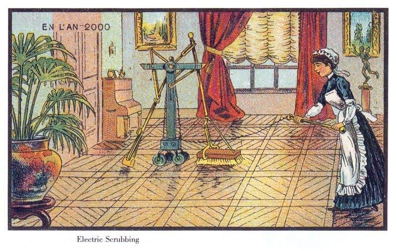 Limpeza de casa - A vida no ano 2000 imaginada cem anos antes