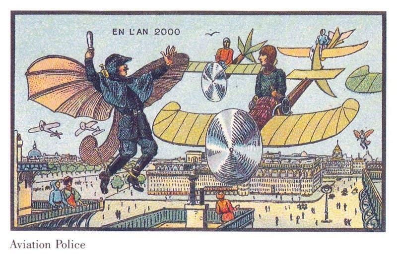 Polícia aérea - A vida no ano 2000 imaginada cem anos antes