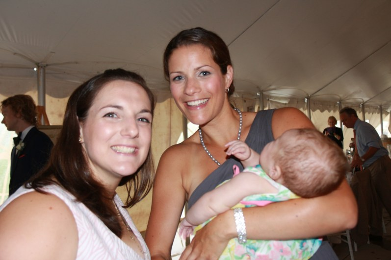 Laura Leeper with friend holding baby Andy Leeper