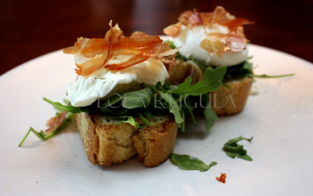 la quercia speck poached egg arugula fresh ricotta recipe