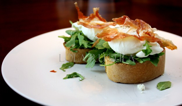 la quercia speck with poached egg arugula and fresh ricotta recipe