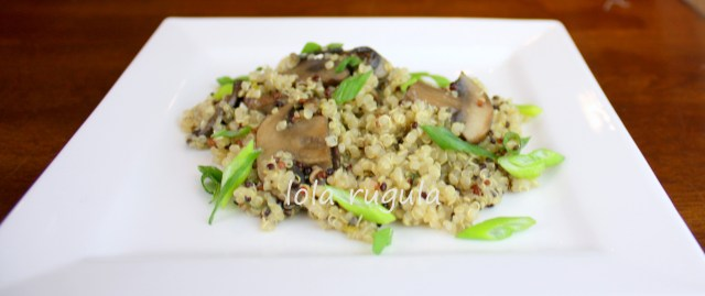 lola rugula easy quinoa recipe with mushrooms and thyme