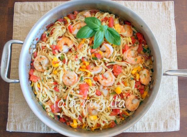 lola rugula linguine with shrimp and tomatoes