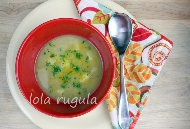 lola rugula roasted garlic and leek soup with new potatoes