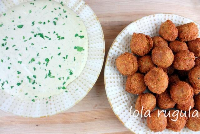 lola rugula falafel and tahini sauce
