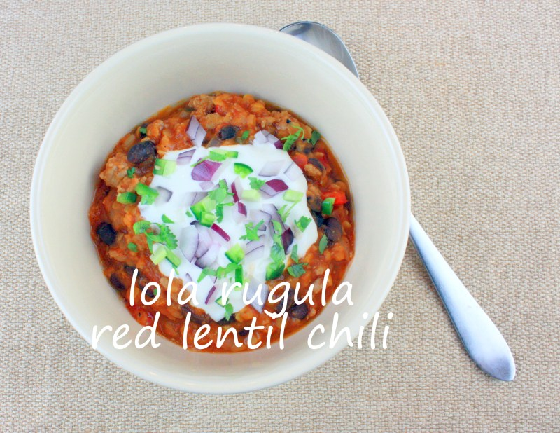 lola rugula red lentil chili with black beans