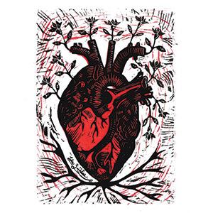 Corazón florecido en color