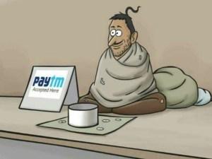 Beggar accepting paytm