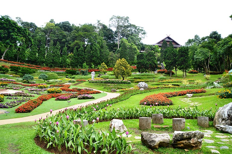 Thailand - Well maintained gardens on top of Doi Tung