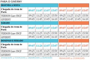 Horários dos ônibus para o Giverny