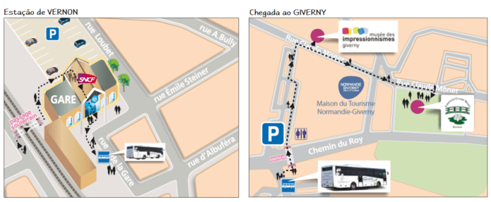 Mapa estação ônibus - Giberny