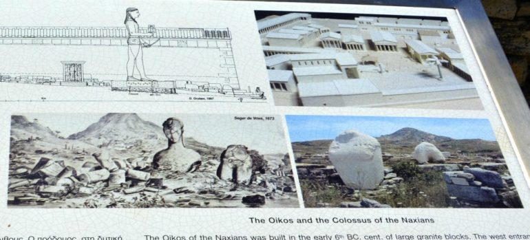 Ilha de Delos - Zoom Placa explicativa Colosso de Naxos