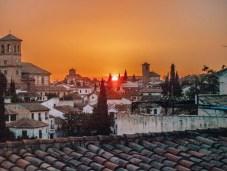 Sunrise over Granada, Spain.