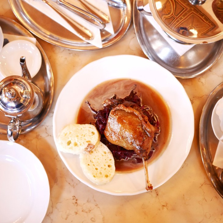 Slow cooked duck leg with bread dumplings from Cafe Savoy, Prague