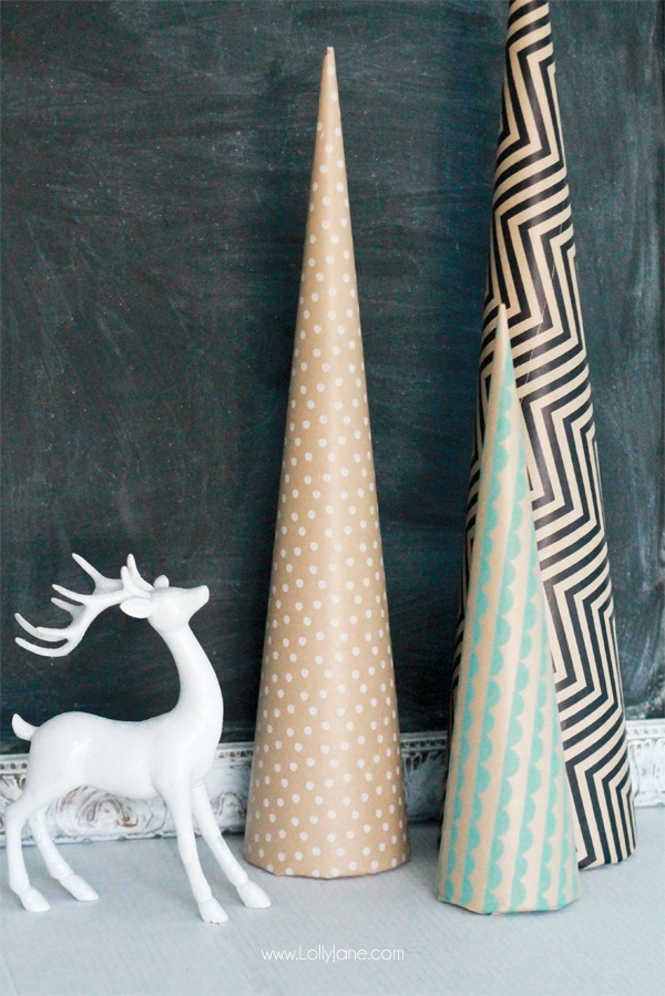 These DIY Paper Wrapped Holiday tTees are the cutest!  via lollyjane.com