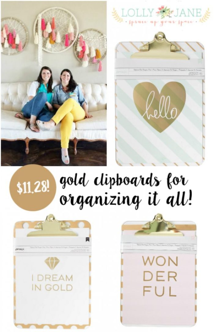 Use gold clipboards for organization ideas!